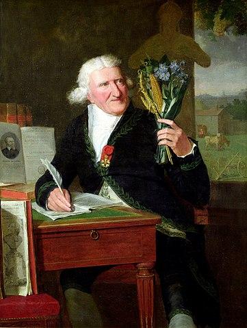 Parmentier holding a potatoe plant, painting by François Dumont