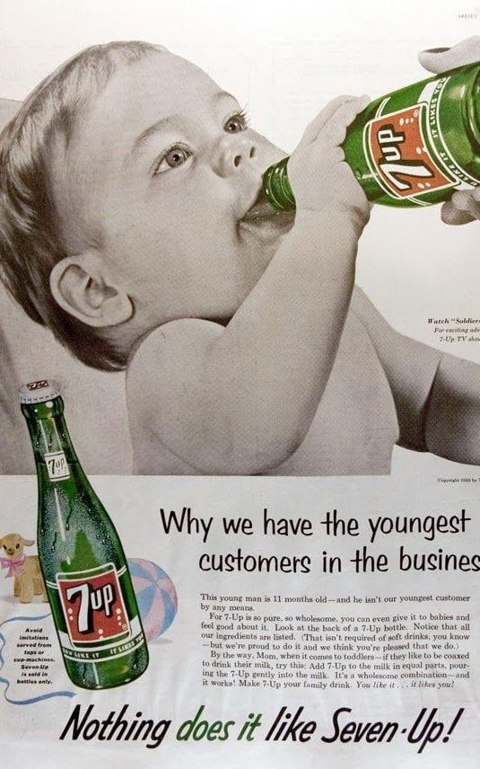 Publicidad de 7-up: preparando a tu hijo para una vida feliz (y caries)