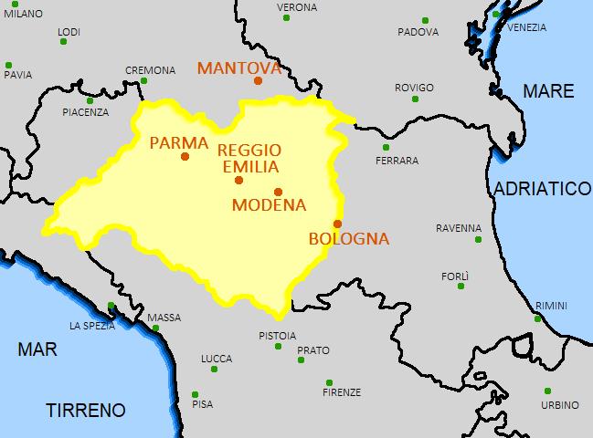 Zona de producción del Parmigiano Reggiano