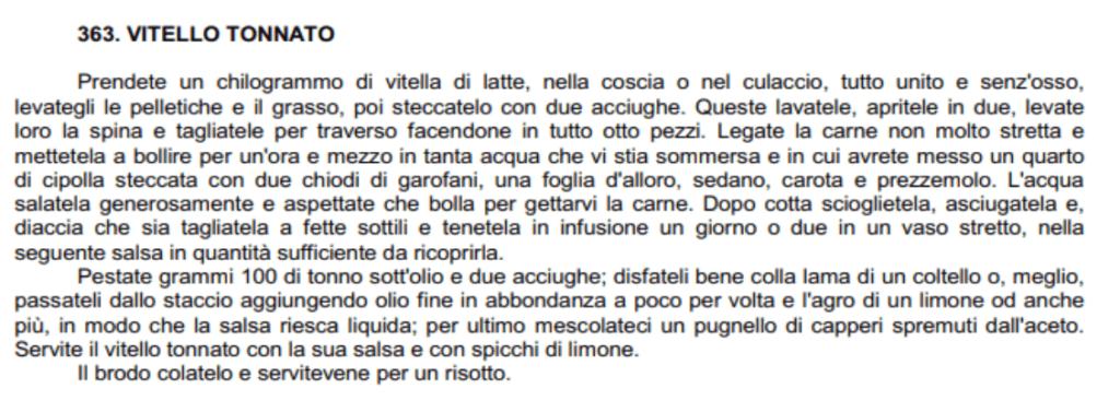 vitello tonnato first written recipe